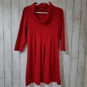 Muse Red Dress 3/4 Sleeve Cow Neck Size 10
